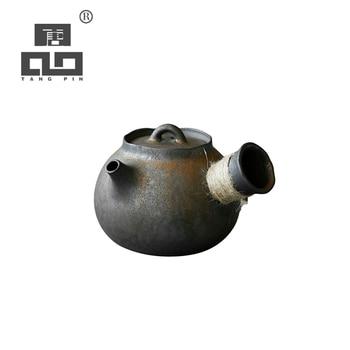 TANGPIN ceramic kyusu teapot handmade tea pot chinese kung fu tea pot drinkware 200ml tangpin coffee and tea tools tin tea strainers handmade kung fu tea accessories