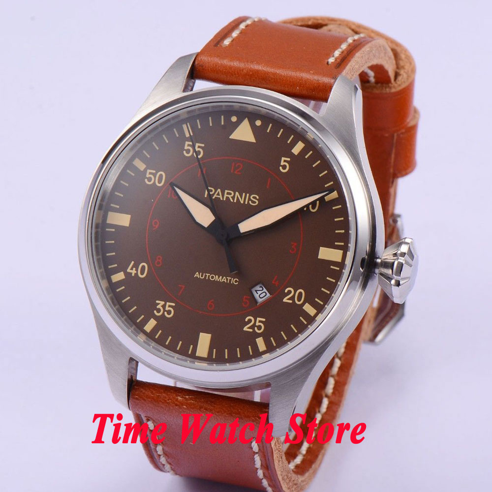 47mm parnis coffee dial luminous date window brown leather strap MIYOTA automatic movement men's watch 580 luxurious 47mm parnis coffee dial date seagull automatic movement mens watch page 6