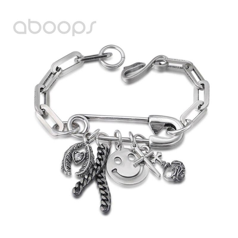 все цены на Vintage 925 Sterling Silver Pin Link Bracelet with Charms for Men Women 20 cm Free Shipping