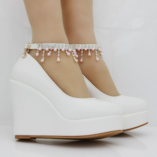 Online Shop Crystal Queen 11cm White Pearls Round Toe wedges shoes ... d45c092324fa