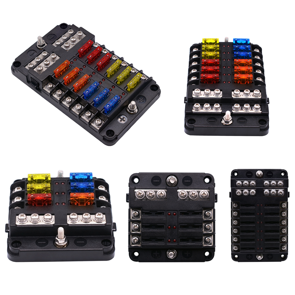 wupp 12v 32v plastic cover fuse box holder m5 stud with led indicator light 6 ways [ 1000 x 1000 Pixel ]