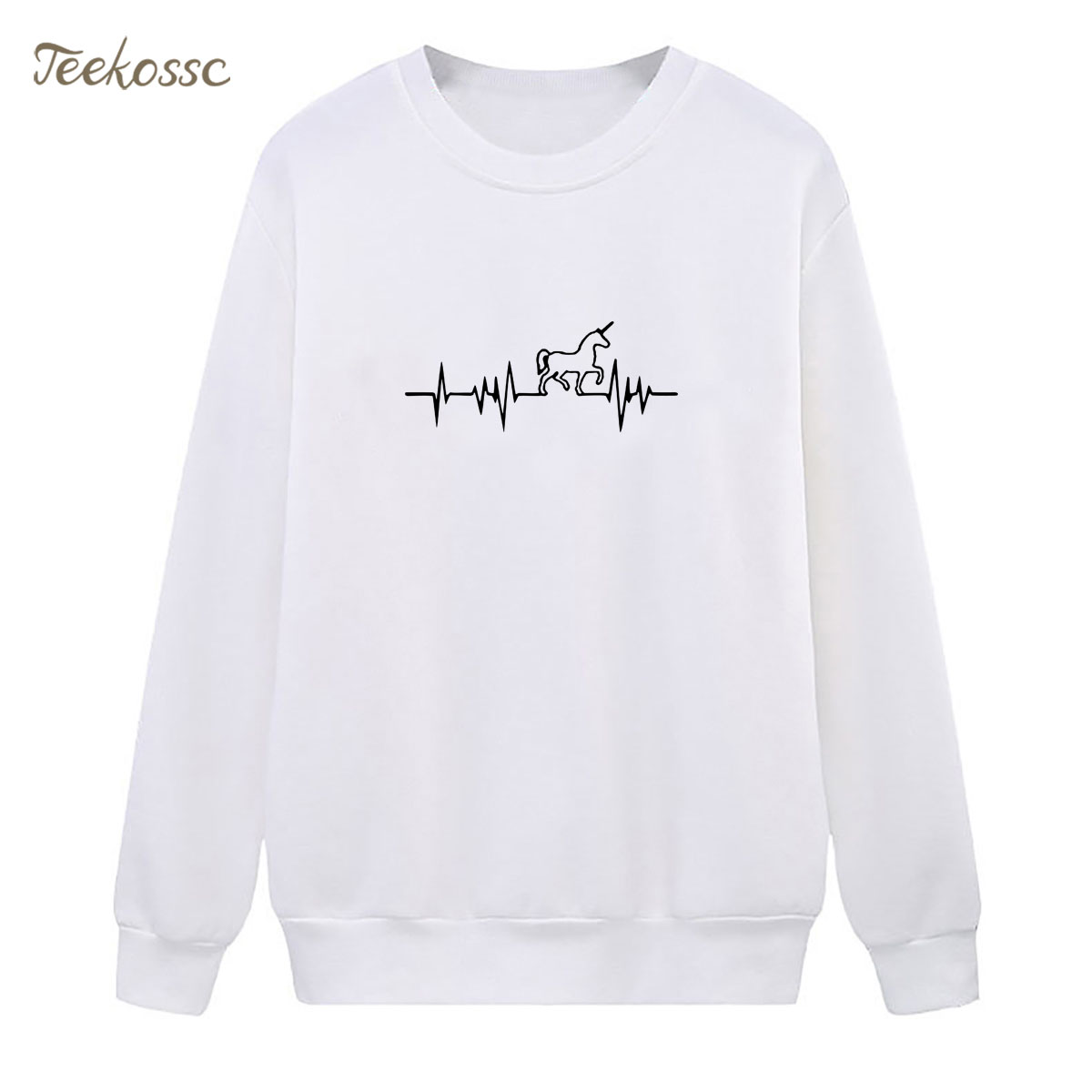 Electrocardiogram Horse Sweatshirt Harajuku Funny Hoodie 2018 Winter Autumn Women Lasdies Pullover Fleece Warm Loose Streetwear