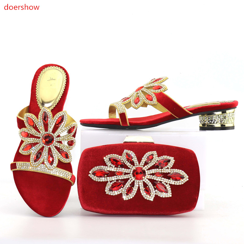 doershow Shoes and Bag Set Matching Shoe and Bag Set for African Party Nigerian Women Shoe and Bag Set To Match for lady SZQ1-11 doershow women shoe and bag to match for parties african wedding shoe and bag sets african ladies shoe and bag set pme1 16