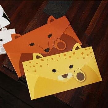 1 Uds. Tarjeta plegable animal cerdo panda zorros Tigre cumpleaños felicitación/mensaje tarjeta postal Navidad Año nuevo regalo tarjeta universal