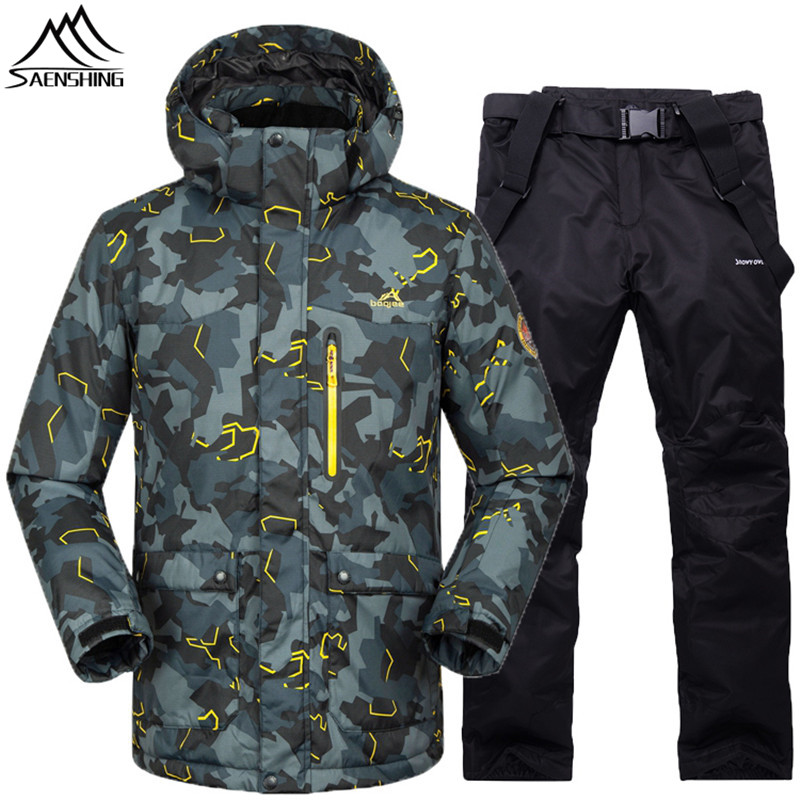 Saenshing -30 Degree Warm ski suit men waterproof 10K breathable snowboarding suits ski jacket+snowboard pant skiing snow suits цена и фото