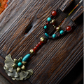 Vintage Long Sweater Chain Original Turquoise Pendant Long Necklace For Women Ethnic Handmade Natural Shell Jewelry