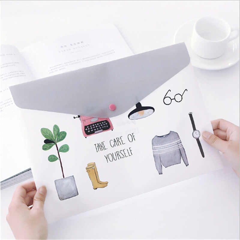 1PC Fashion PVC A4 File Folder Cute Document Filing Bag Stationery Organizer Bag School Office Supplies Girls