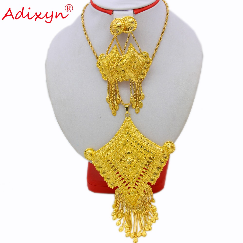Adixyn Quadrilateral Shape India Necklace Pendant Earrings Jewelry Set For Women Gold Color African Party Gifts