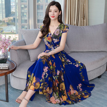 Summer Fashion Female V Neck Short Sleeve Printed A-line Beach Style Chiffon Dress
