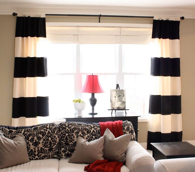Blackout Cotton Black And White Horizontal Stripe Curtain Good For The  Living Room Curtain Modern Style Blackout Curtain