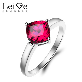 Leige Jewelry Red Ruby Ring Ruby Proposal Ring July Birthstone Cushion Cut Red Gemstone 925 Sterling Silver Solitaire Ring