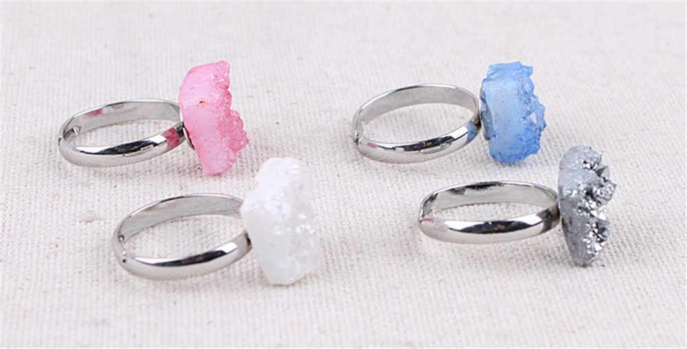 Женское женское кольцо с агатом Кластерное белое соединение Агаты кольца кольцо с кольцами натуральный белый хрусталь кристалл Forefinger открытие