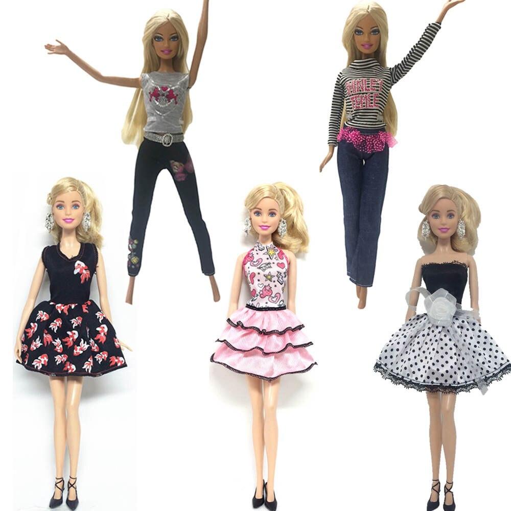 NK 5 Set / Lot trajes de muñeca ropa de moda hecha a mano caliente para Barbie Doll vestido bebé niña cumpleaños año nuevo presente para los niños