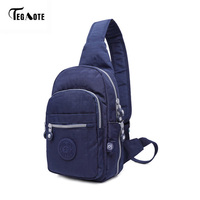 TEGAOTE Hot Nylon Men Shoulder Bag Fashion Trending High Quality Mens Crossbody Bag Black Chest Pack