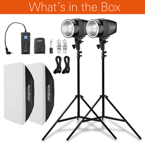 Image 2 - Gratis Dhl Godox 300Ws 2X150 Ws Strobe Studio Flash Light Kit Met RT 16 Trigger & 2X50X70 Cm Softbox & 2X190 Cm Light Stand