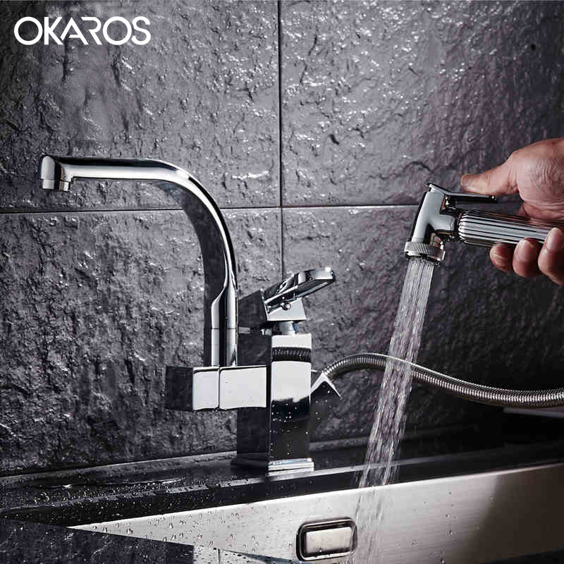 OKAROS Kitchen Faucet Pull Out Sprayer 360 Degree Swivel Chrome/Nickle Brushed/Golden Finish Vessel Sink Mixer Tap Torneira 2016 new pull out sprayer kitchen faucet swivel spout vessel sink mixer tap single handle hole hot and cold