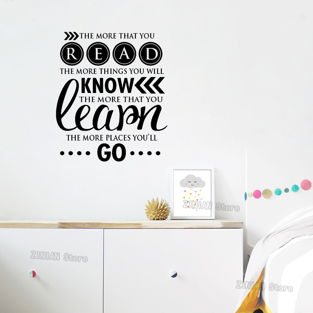 Reading Encouraging Wall Sayings Stickers Kids Bedroom Removable