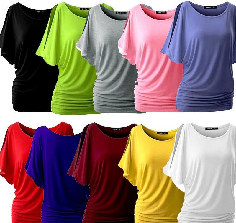 HTB1juk6PFXXXXc8XVXXq6xXFXXXF - T Shirt Women Batwing Sleeve Shirts Top Solid O-Neck Cotton