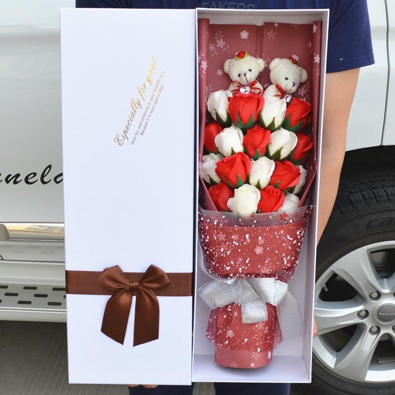 wedding decorative bears bouquet stuffed plush toys teddy bear dolls artificial flower cute retail Valentine/Graduation Gift