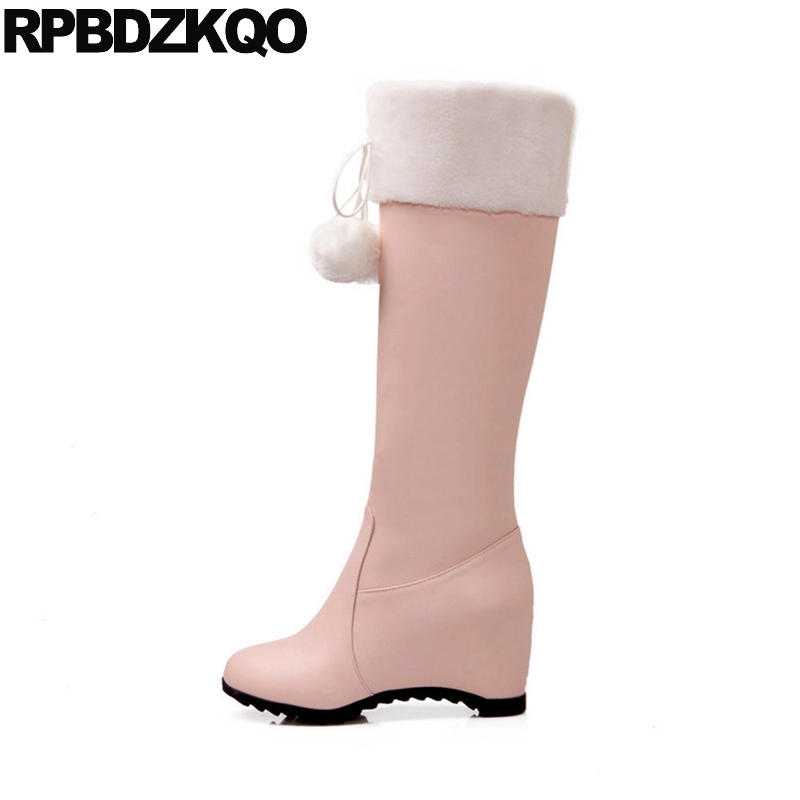 Waterproof Hidden Women Snow Boots Winter Fur Shoes Big Size 34-43 Pom Poms Pink Faux Wedge Furry 10 Long Round Toe JapaneseWaterproof Hidden Women Snow Boots Winter Fur Shoes Big Size 34-43 Pom Poms Pink Faux Wedge Furry 10 Long Round Toe Japanese
