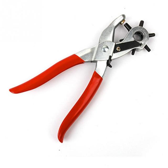 1Pcs New 6 Size Heavy Duty Leather Hole Punch Hand Pliers Belt Holes Punched Punching Plier Hole Home Pliers Tool