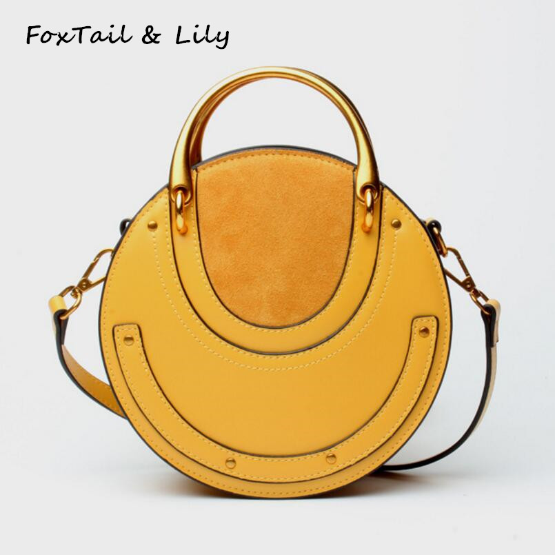 FoxTail & Lily Genuine Leather Vintage Metal Handle Women Tote Handbags Rivets Small Round Bag Ladies Shoulder Messenger Bags foxtail