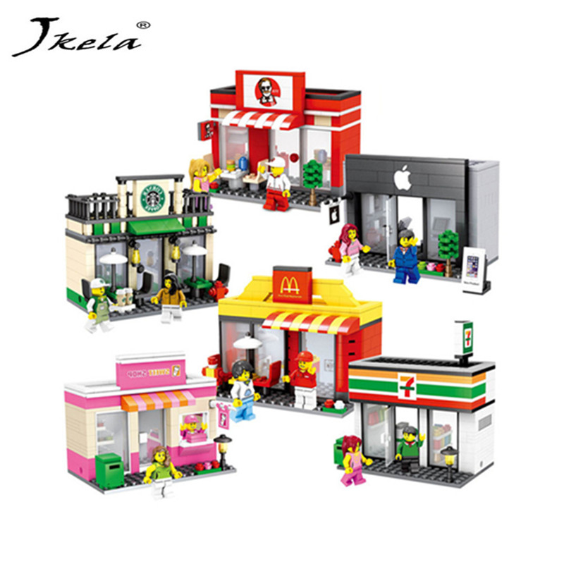 [Hot] Legoingly City Series Mini Street Model Shop with Apple Store McDonald`s Building Block Compatible with Legoingly Hsanhe