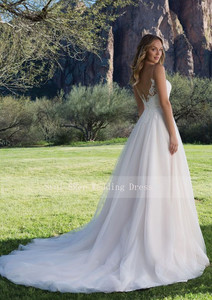 Image 5 - מכירה לוהטת טול חתונת שמלת שמלת אונליין עם סקופ תחרה מחשוף שרוולים כלה שמלות 2019 v בחזרה