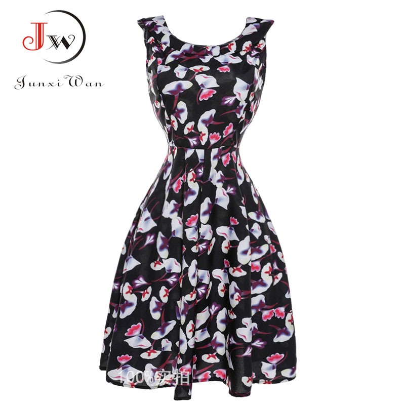 Black Dress 2017 Summer floral Print Vintage 50s 60s Dresses Party with Sashes Dress Swing Rockabilly