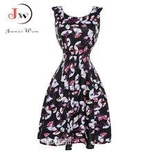Noir dress 2017 d'été imprimé floral vintage 50 s 60 s robes de soirée avec des ceintures dress swing rockabilly pin-up robe femme ete