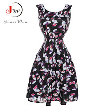 Black Dress Summer floral Print Vintage 50s 60s Dresses Party with Sashes Dress Swing Rockabilly Pinup