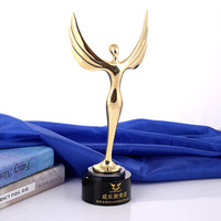 Angel Metal Oscar Trophy With A Crystal Base Engraved Logo Or Words For Dancing Contest Award