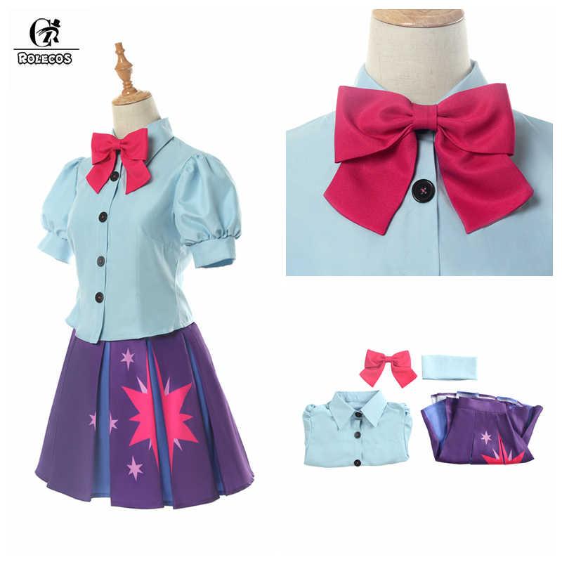 ROLECOS Аниме Костюм радуга Пони Косплей Сумеречная Искорка косплей костюм женская униформа прекрасный женский наряд рубашка юбка