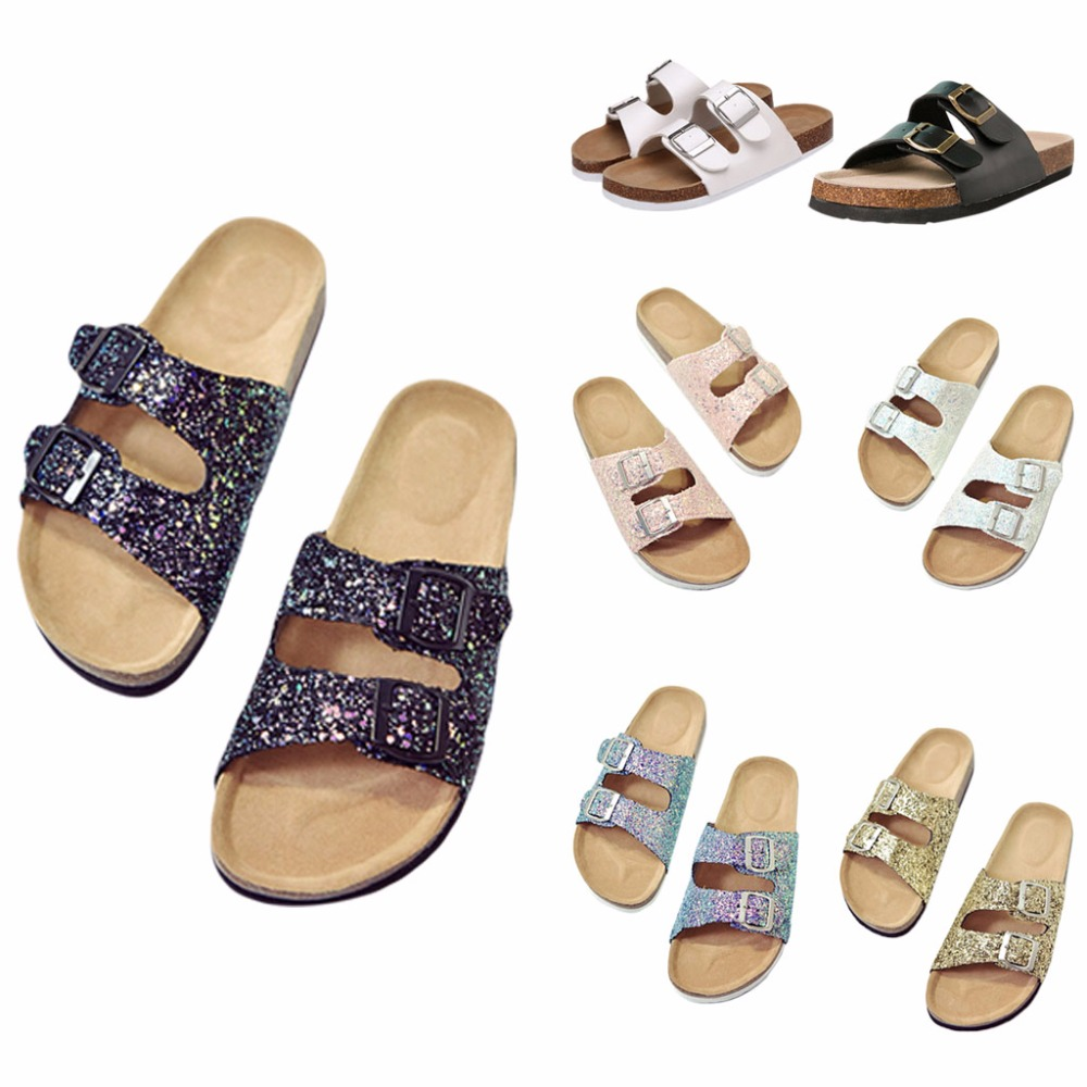 Womens Shiny Thong Slip On Flat Slippers Casual Slide Flip Flop Sandals Buckled Female Summer Slide New Design 2018 woven flat slide sandals