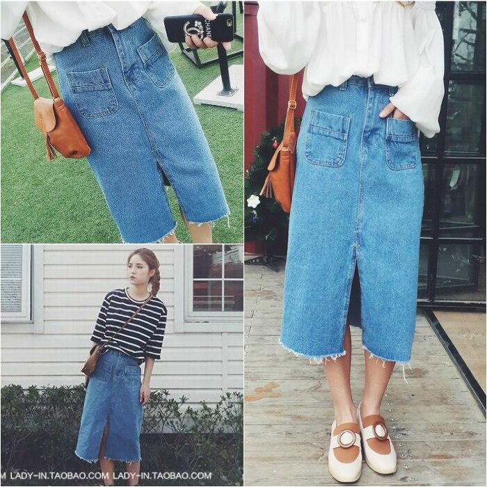 0e9bd6aa7 € 44.56 |Primavera verano blue jeans falda recta raja del frente 2  bolsillos bohemio retro denim falda larga falda larga saia jupe longue va a  en ...