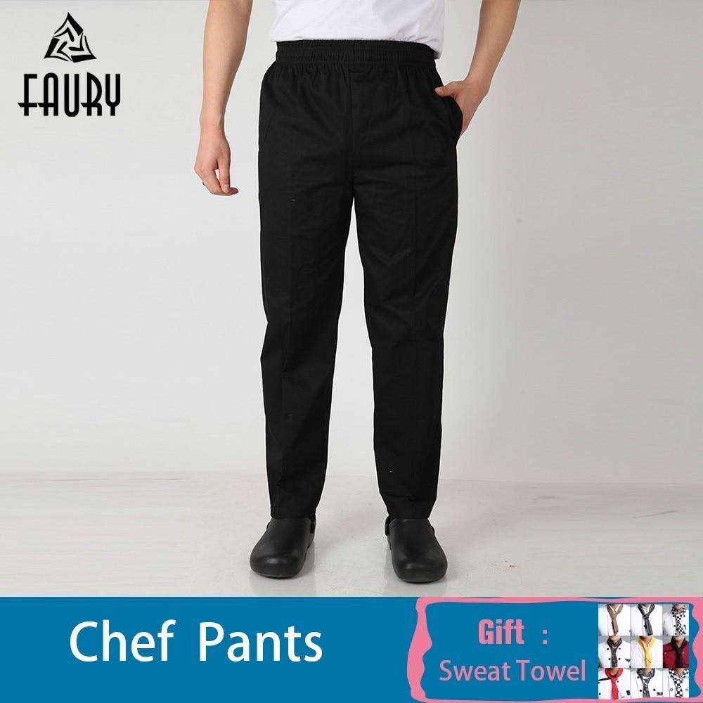 Wholesale Grid Men Elastic Waist Restaurant Kitchen Catering Bakery Cake Canteen Suit Trousers Work Wear Pants Waiter Business