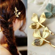 European and American fashion jewelry gold starfish fresh leaves retro stereo small hairpin side clip wholesale Hair Jewelry