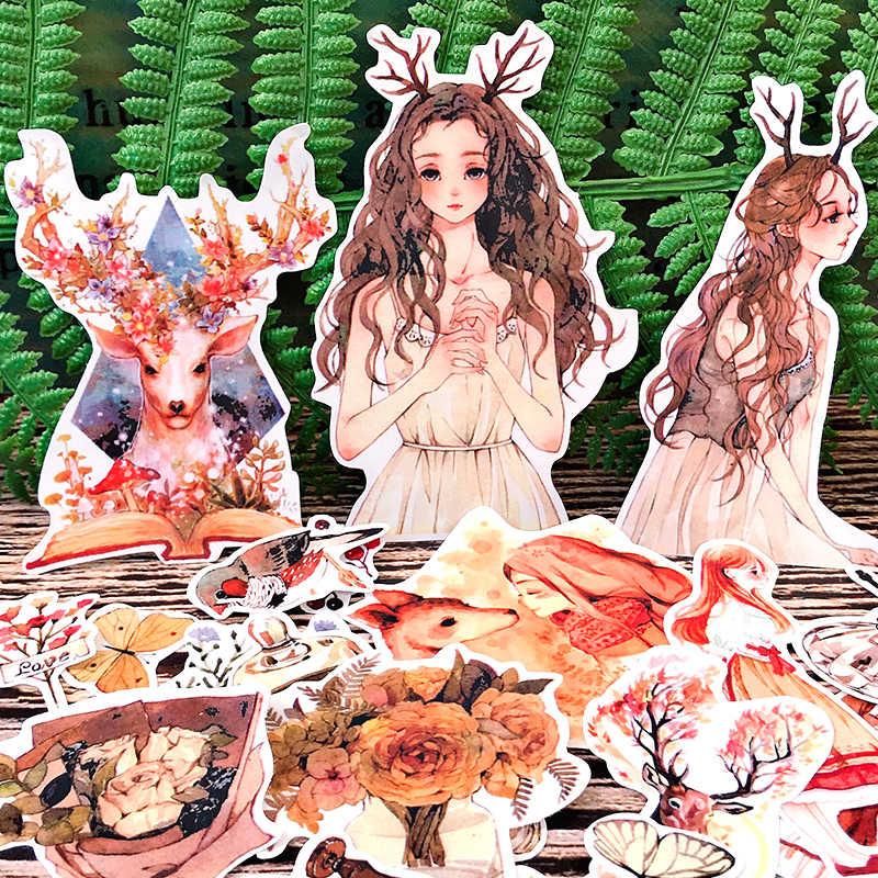 25 قطعة الغابات vintage شخصية سجل القصاصات ملصقات سكرابوكينغ المواد شخصية ملصق سعيد مخطط الديكور الحرفية
