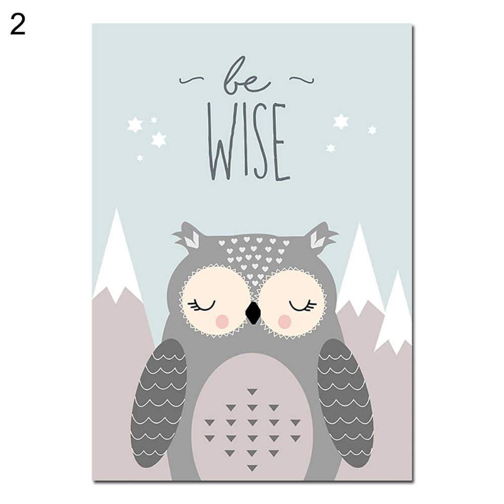 New Lovely Cartoon Fox Owl Deer Nordic Canvas Painting Art Print Poster Picture Wall Baby Room Children Bedroom Home Decoration