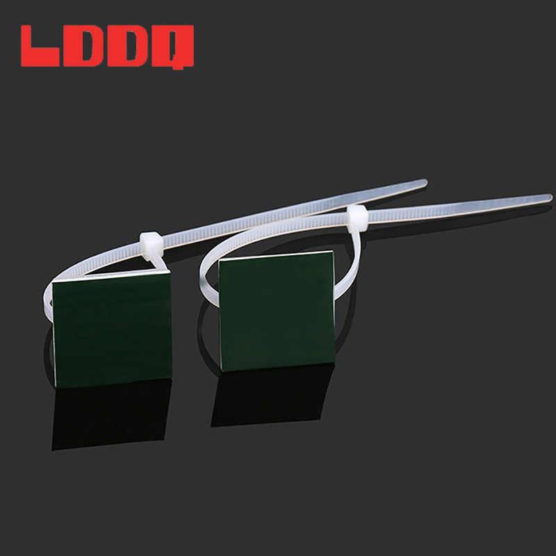 LDDQ 100 pcs Self Adhesive Nylon Cable Tie Mounts 20 มม. Zip Tie ฐานติดตั้งโคมไฟสีขาวแห่งชาติคุณภาพสูงมาตรฐาน