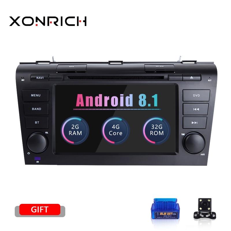 2 Din Android 8.1 lecteur DVD de voiture pour MAZDA 3 2004 2005 2006 2007 2008 2009 magnétophone Radio tête unité GPS Navigation 2 GBWifi