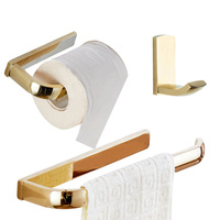 Leyden Golden Finish Brass 3pcs Bathroom Accessories Set Wall Mounted Towel Ring Holder Toilet Roll Paper Holder Clothes Hook