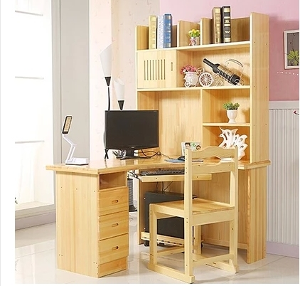 pur bois bureau domicile ordinateur de bureau coin bureau avec biblioth que pin biblioth que. Black Bedroom Furniture Sets. Home Design Ideas