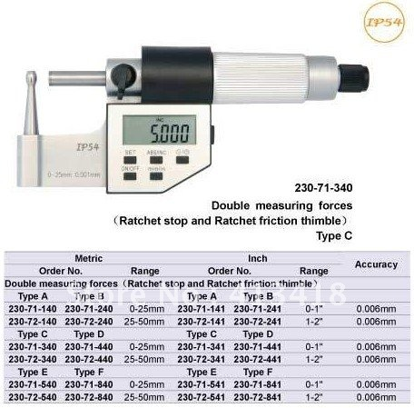 Outside micrometer .Tube Micrometers.  round head wall thickness Micrometer 0-1