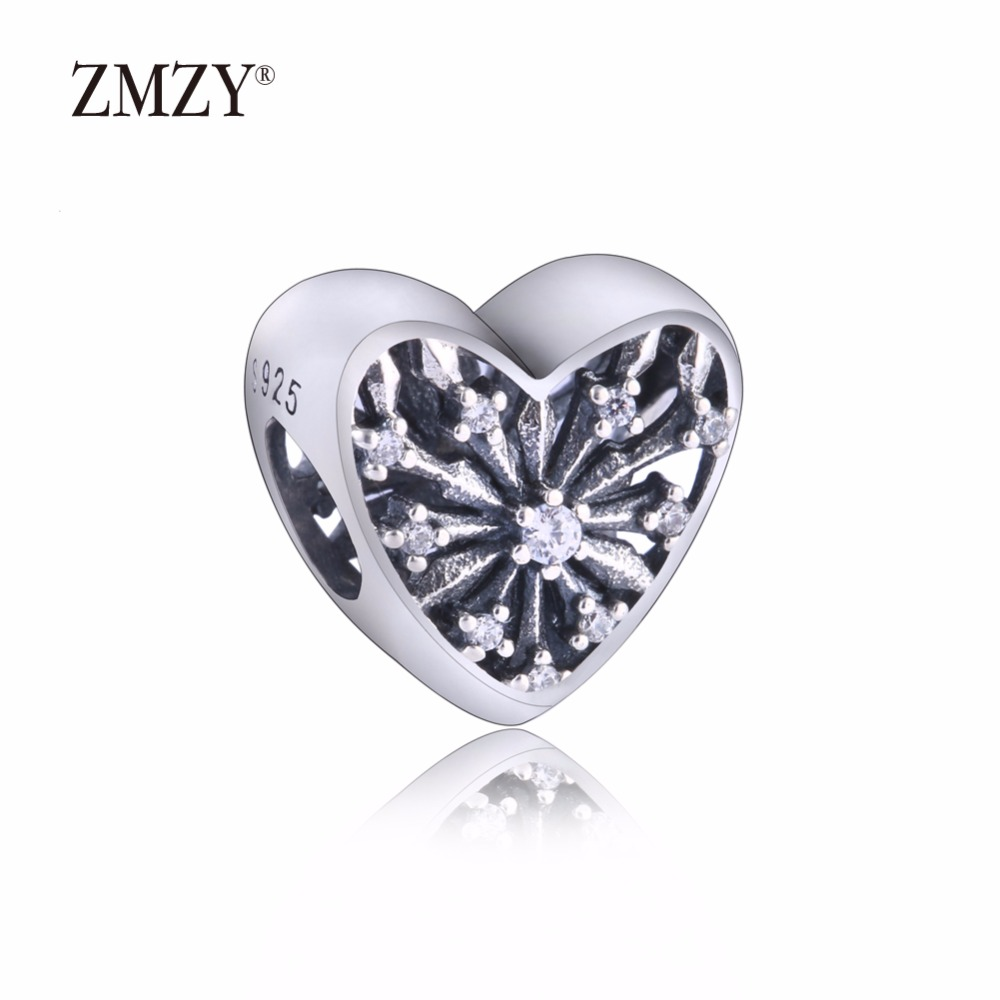 b1b08d4ab ... italy zmzy authentic 925 sterling silver charms heart of winter  snowflake clear cz beads fits pandora