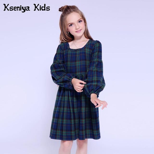 ... Kseniya Kids Clothes 2018 Winter Girls Dress Long Sleeve Plaid Party  Dresses Cute Children Dress Princess ... 0ac5157e7b86