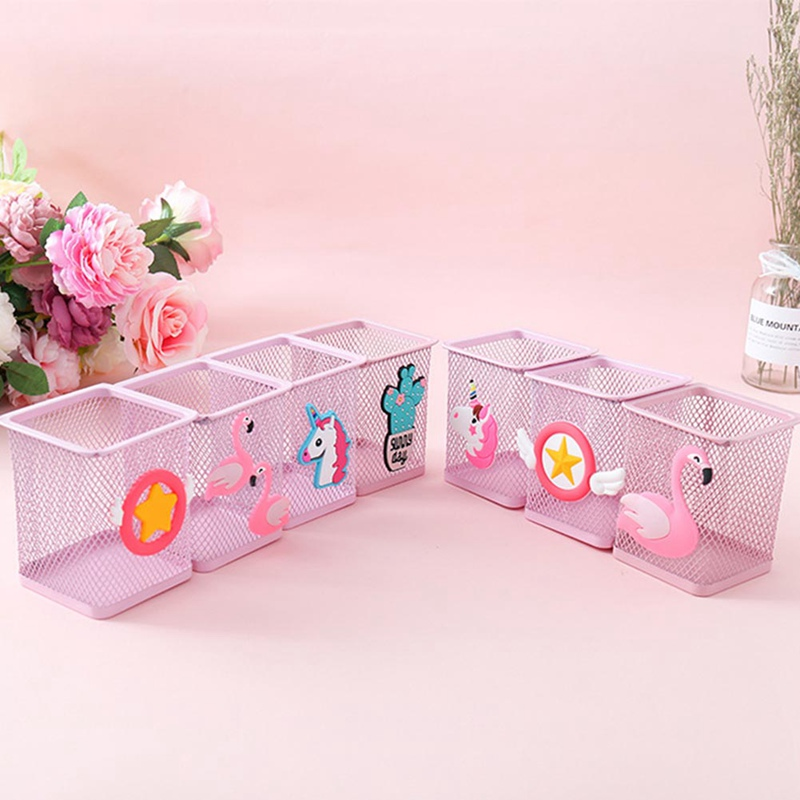 1 Pc Kawaii Pink Unicorn Cactus Flamingo Square Stationery Storage Box Manage Case Pencil Pen Holder Stand Student Stationery