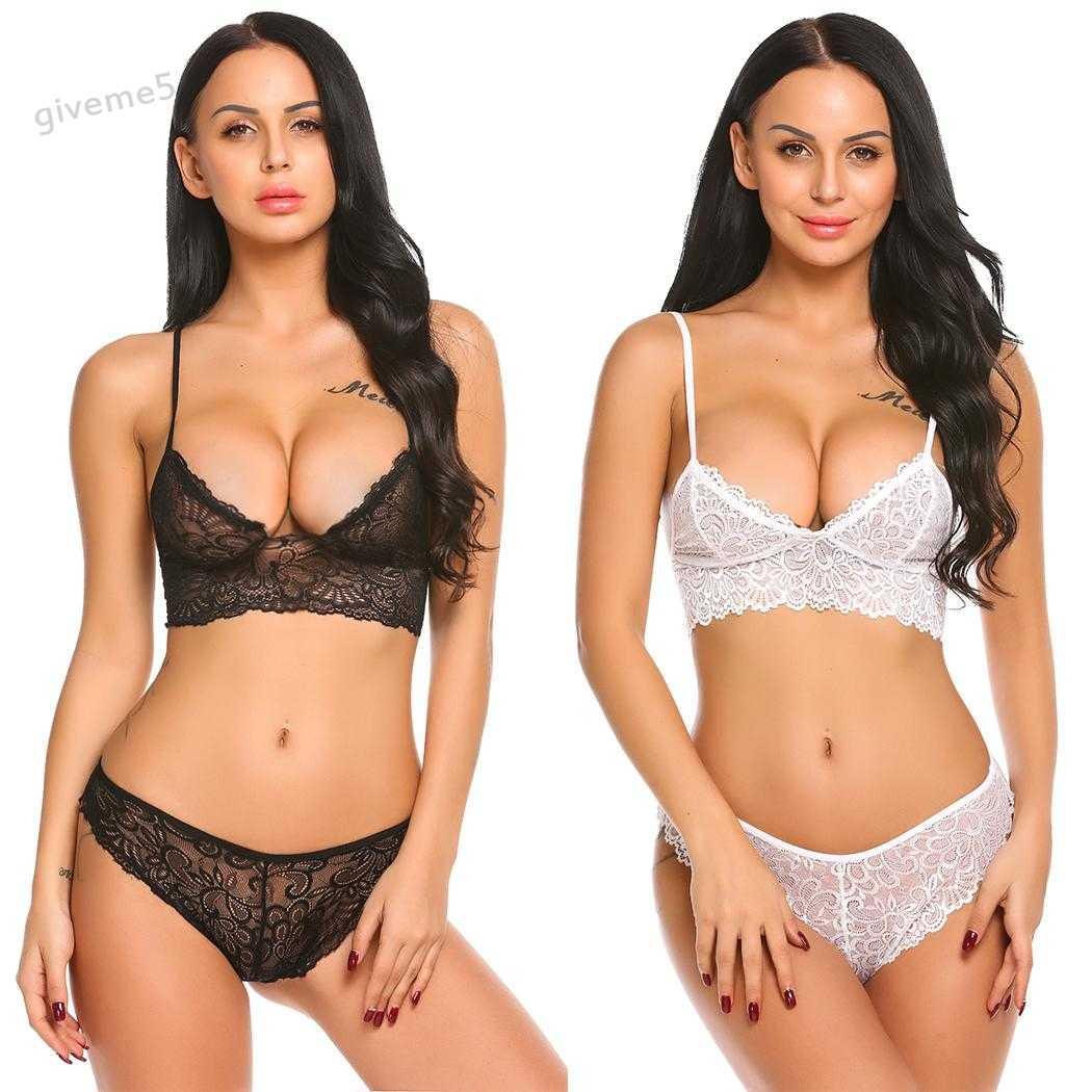a43ba180eb1 Sexy Women Lace Mesh 1 2 Cup Transparent Nightwear Babydoll Sleepwear  Lingerie Set Unlined Bra