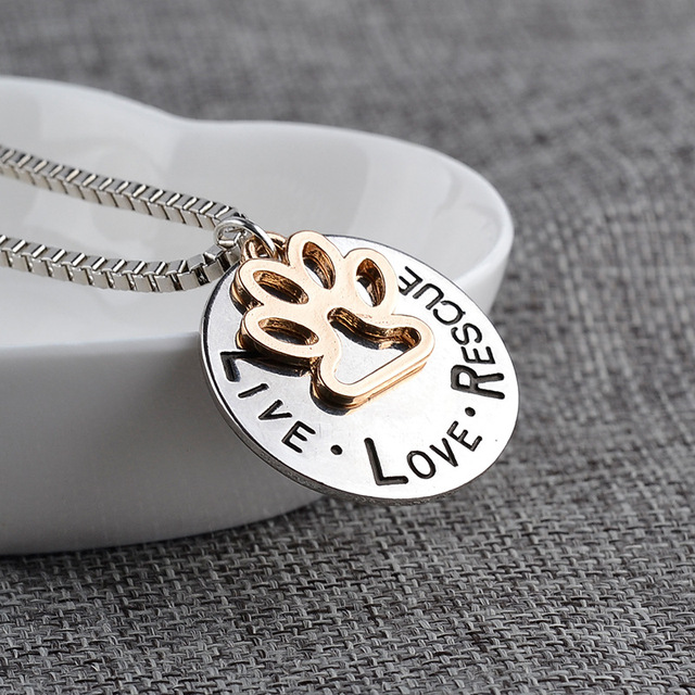 Miss Zoe Lettering LIVE LOVE RESCUE Hollow Gold Paw Claw Pendant Necklace Angel Pet Simple Jewelry Special Gift Adopt Dog Lovers 1