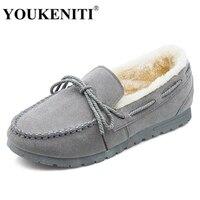 2017 YOUKENITI Sapatos De Pele De Inverno Da Marca Mulheres Ballet Flats Flexíveis Loafer Sapatos Enfermeira Mulher Apliques De Pelúcia Sapatos de Barco DX602